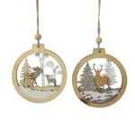 Wooden bauble shaped tree decoration with cut out design