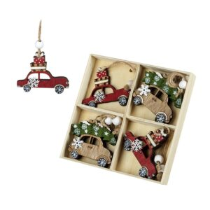 Wooden car design Christmas tree decorations